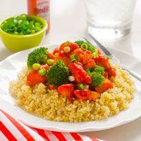 Buffalo chicken and broccoli quinoa