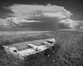 Of Land, Sea and Sky a Boat on Grassy Shore A Black and White Fine Art Wall Decor Photograph