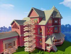 Minecraft pink house Minecraft house tutorials Cute minecraft houses Easy minecraft houses
