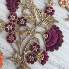 Floral Design Fabric Pearls Appliqué-Sew on Applique-Silk Zardozi Embroidery, Kurti Embroidery Design, Embroidery Neck Designs, Bead Embroidery Patterns, Hand Work Embroidery, Couture Embroidery, Embroidery Fashion, Floral Embroidery, Beaded Embroidery