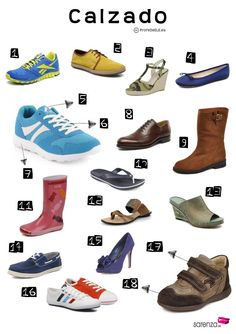Vocabulario del calzado ~ (B1) Actividad online para practicar el vocabulario del calzado con una ficha gráfica | ProfeDeELE.es