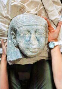 Statue's head found in Tehutimes III (Thutmosis III) temple. Dr. Mohamed Ibrahim, Minister of Antiquities, announced that the Egyptian Spanish mission headed by Dr. Myriam Seco Alvarez working in the funerary temple of Tehutimes III (Thutmosis III), on West Bank, Luxor has discovered a black granite head representing a King of the New Kingdom. Most likely the head of the King who followed Tehutimes III (Thutmosis III), Amenhotep II