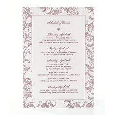 Floral Letterpress Wedding Itinerary. Make sure everyone's in the right place at the right time by including a detailed itinerary of the weekend's events. Letterpress event schedule, $316 for 50, Dauphine Press, dauphinepress.com.