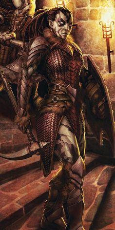 f Goliath Scale Armor War Pick urban tavern night streets