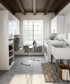 Explore Laundry Room Styles for Your Home - Classic Laundry Room with Oversized Basin and Cubbies - Laundry Room Cabinets, Laundry Room Organization, Laundry Room Design, Clean Cabinets, Küchen Design, Home Design, Home Interior Design, Room Interior, Interior Ideas