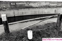 Anyone who's read Bombed Out! will know why I like this - it shows an urban canal. I also like the extremely articulate anti-authority graffiti, and the bust rail in the foreground, which now, no doubt, would be stolen for scrap.