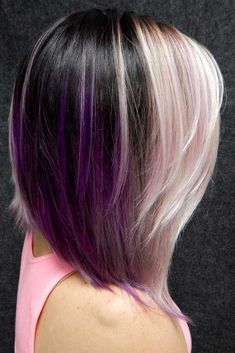 Dark And Light Contrasts Never Fail #purplehighlights #highlights #haircolor #straighthair #longbob ❤️See what a deep and bright look you can get with purple highlights! Purple balayage, blue ombre, and many cool hair color ideas are here! ❤️ See more: http://lovehairstyles.com/purple-highlights-unique-hair-look/ #lovehairstyles #hair #hairstyles #haircuts