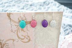 Crackle Style Oval Earrings by KaliKJewelry on Etsy, $6.00