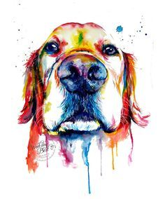 Colorful Golden Retriever Art Print  Print of my by WeekdayBest I love dogs and this dog painting is gorgeous.