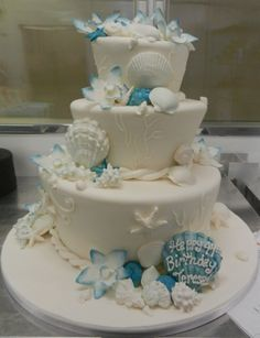 White and blue under the sea cake