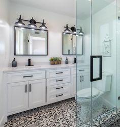 #LaminateHardwoodFlooring Black And White Bathroom Floor, Black White Bathrooms, White Bathroom Tiles, Bathroom Floor Tiles, Modern Bathroom, Bathroom Mirrors, White Bathroom Vanities, Paint Bathroom, White Bathroom Cabinets