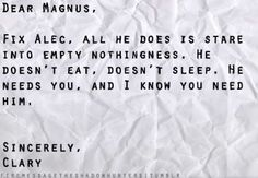 MY OTP!!! MALEC!!! WHY CASSIE CLARE, WHY!!!! IT HURTS SO BAD!!!!
