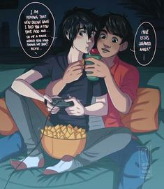 HEADCANON: Each Saturday night Hiro plays online video games while Miguel is hugging him behind him on the sofa and he's giving him snacks and soda for not distracting him. Disney Pixar, Disney Ships, Disney Memes, Disney Fan Art, Disney And Dreamworks, Hiro Big Hero 6, The Big Hero, New Online Games, Lgbt Anime