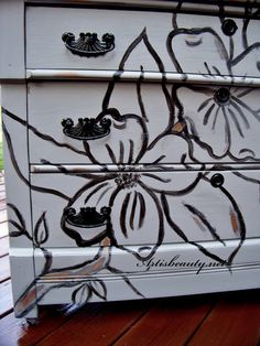 ART IS BEAUTY: Hand painted Dogwood dresser