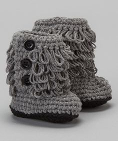 Take a look at this Gray & Black Crocheted Booties on zulily today!
