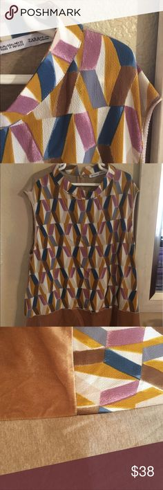 Colored-checkered top. The perfect top for dressing up jeans, this comfy dress top is all you need for a great first impression! Zara Tops Blouses