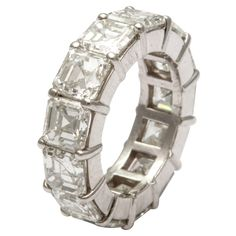 Superb Asscher Cut Diamond Wedding Band, 12.30 CTS   From a unique collection of vintage band rings at http://www.1stdibs.com/jewelry/rings/band-rings/