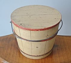 Vintage Sap Bucket With Lid, Painted Wood Sap Bucket, White And Red Wood Pail Bucket With Lid, Solid Shapes, Red Wood, Vintage Tools, Painted Wood, Types Of Wood, White Paints, Metal Bands, Painting On Wood