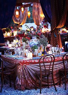 Gypsy wedding decor, love the olive branches