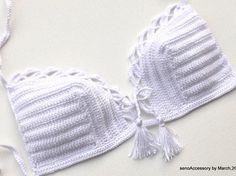 Ganchillo Bikini / Bikini Top Crochet Top mujeres traje de baño traje de baño…