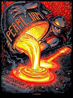 is selling a rare sold out poster from Pearl Jam's 2013 Tour. This is the first poster of the Lighting Blot Tour. The poster was designed by Munk One, and is probably the coolest one … Rock Posters, Band Posters, Art Hippie, Pearl Jam Posters, Gravure Illustration, Illustration Art, Alternative Rock, Pearl Jam Eddie Vedder, Pochette Album