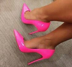 Pink Patent Leather Pointy Toe Stiletto Heel Pumps Women's Style Pumps Hot Pink Elegant Pointed Toe Stiletto Heels Leather Pumps Fall Fashion Outfits Women Homecoming Short Dresses Shoes Plus Size Fashion For Women for Party, Date Heel Pumps, Stilettos, Stiletto Heels, Hot Heels, Cute Shoes, Me Too Shoes, Hot Pink Shoes, Pink Heels, Autumn Fashion Women Fall Outfits