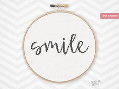 SMILE counted cross stitch pattern, easy beginner simple xstitch embroidery needlecraft saying word quote baby nursery gift for home diy pdf