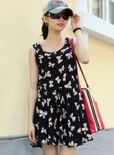 Attractive Korean Style Sleeveless Floral Imprint Dress