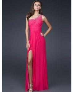 2012 Style A-line One Shoulder Beading Sleeveless Floor-length Chiffon Prom Dresses / Evening Dresses (SZ0245766 )