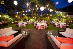 Lounge furniture, lanterns and twinkle lights