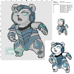 Volibear (League of Legends) free cross stitch pattern 100x116 9 colors - free cross stitch patterns by Alex