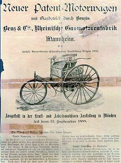 The first car ad in a Mannheimer Newspaper by Carl Benz in 1886