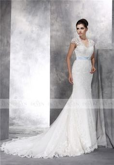 Short Sleeve V-Neckline Beaded Lace Applique Mermaid Gown