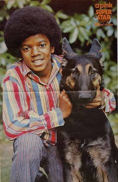 Michael Jackson & GSD  The dog looks nervous and tense