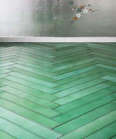 green herringbone tile floor cristalli panorama by made a mano wwwmadeamano