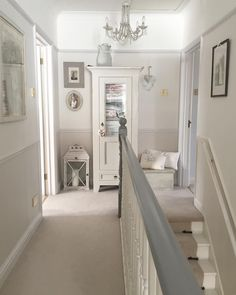 Calm on a Sunday.trying to decide if I should bring a little bit of the Dark Lead paint from my hall up the stairs on the right hand side it's a difficult one where to blend the colour change 😏 Lead Paint, Roof Lantern, Decoration, Color Change, The Darkest, Bring It On, Stairs, Home Appliances, Cabinet