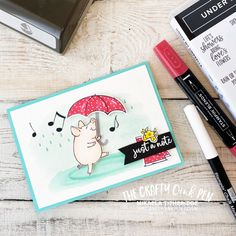 This Little Piggy is Under my Umbrella by Mikaela Titheridge, UK Independent Stampin' Up! Demonstrator, The Crafty oINK Pen. Supplies available through my online store Umbrella Cards, Card Making Templates, Chalk Pens, Sample Paper, Under My Umbrella, This Little Piggy, Stamping Up Cards, Get Well Cards, Animal Cards