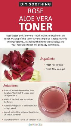 DIY Soothing Rose Aloe Vera Toner... I'd add Witch Hazel, then it would be perfect!