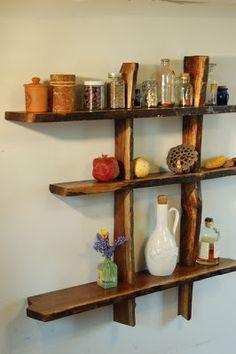 3-tiered walnut wall shelf