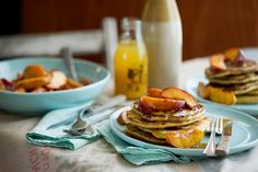 brown butter pancakes with glazed peaches