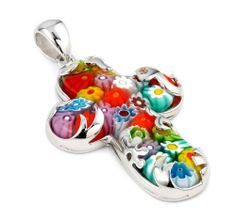 Millefiori Elegant Wave Overlay Multi Color Large Cross Pendant Millefiori. $70.47. Handmade (patterns and colors may slightly vary). Approximate Length: 41 MM (1.60 INCHES). Designer Jewelry by Alan K.. Approximate Width: 23 MM (0.90 INCHES). Authentic Murano Glass from Italy