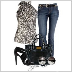 CHATA'S DAILY TIP: Pair your classic jeans (tapered or skinny jeans) with an on-trend print and stylish accessories. Avoid high collared tops if you have a short neck or a full bust. It is always a good idea to wear a pattern on the top half of your body if you want to look taller and slimmer. COPY CREDIT: Chata Romano Image Consultant, Michele Cox http://chataromano.com/consultant/michele-cox/ IMAGE CREDIT: Pinterest