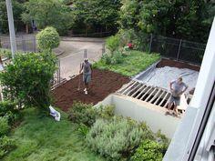 Jardim de casa com Telhado verde
