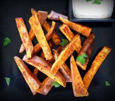 Spicy Sweet Potato Oven Fries With Sriracha Dipping Sauce by Lynda Baslev, NPR #Sweet_Potato_Fries #Lynda_Baslev #NPR