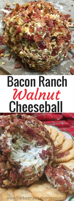 This easy bacon ranch, and walnut cheeseball is a great homemade side dish appetizer for any church function, football, Christmas, or holiday party.