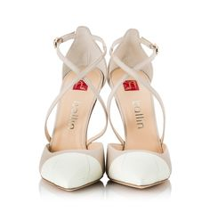 8dc888892319 Ballin Beige   white leather criss-cross strap D Orsay pointy stiletto  pumps