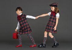 dolce and gabbana winter 2016 child collection 122 Dolce And Gabbana Kids, Dolce & Gabbana, School Fashion, Girl Fashion, Kids Winter Fashion, Fashion Kids, Girls Tunics, Tartan Dress, School Uniform Girls