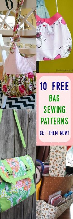 8 Totally Pro Looking Free Bag Patterns - Bag Diy Handbag Patterns, Bag Patterns To Sew, Sewing Patterns Free, Free Sewing, Sewing Tutorials, Bag Tutorials, Sewing Projects, Crochet Patterns, Bag Sewing