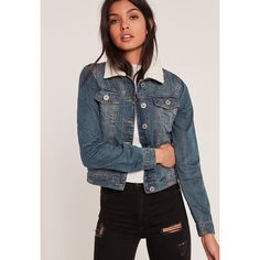 Missguided Light Shearling Collar Denim Jacket ($72) ❤ liked on Polyvore featuring outerwear, jackets, blue, sherpa jean jacket, blue denim jacket, sherpa denim jacket, blue jackets and shearling collar jacket