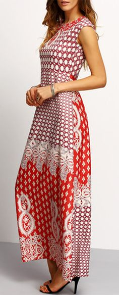 Vintage red prom maxi dress for ladies. Really gorgeous dress with perfect fitted silhouette and delicate tribal print. Chic & also adorable!